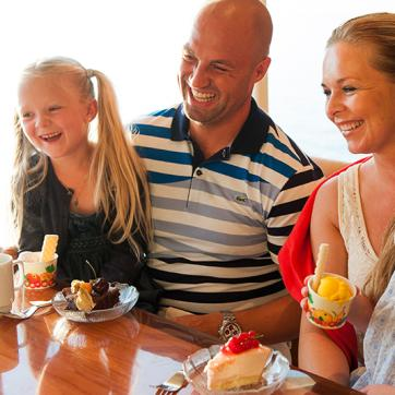 Family eating ice cream in the buffet restaurant
