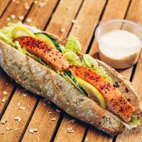 Bluefins Kitchen baguette with salmon. Color Line